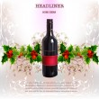 Stock Vector: Background with wine, holiday consept