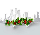 Jul city bakgrunden med holly — Stockvektor