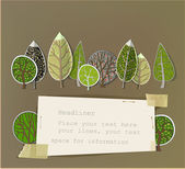 Clean forest background, page template made of paper stickers — Wektor stockowy