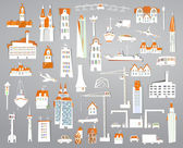 White city collection Sticker set of buildings, transport and infrastructure icons — Stock Vector