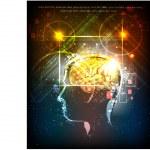 Human's head, thinkin concept Neon collection illustration — Stock Vector