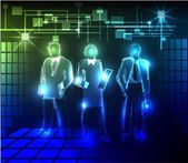 Neon background Business team — Stock Vector