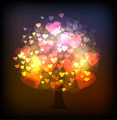 Tree made of neon hearts, valentine consept — Stock Vector