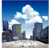 Modern city illustration, business square — Stock Vector