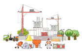 """City is going to be bigger, Building site, """"Happy world"""" collection — Stock Vector"""