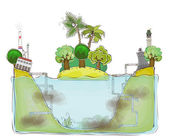 Polluted water, environmenlat concept illustration, Happy world collection — Stock Vector