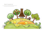 """Harvest time, farm concept illustration """"Happy world"""" collection — Stock Vector"""