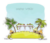 """Beach Hotel on the paradise island, """"Happy world"""" collection — Stock Vector"""