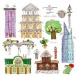 City buildings and elements set, Happy world collection — Stock Vector #39477465