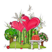 "Love, valentine concept illustration, ""Happy world"" collection — Stock Vector"