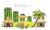"""Isla de papradise, aldea de la selva viajes colección fondo """"mundo feliz — Vector de stock"""
