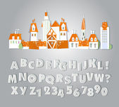 Alphabet made of paper stickers — Stok Vektör
