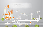 Airport of big city, White city collection — Stock Vector