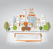 """City on the green hill, """"White city"""" collection — Stock Vector"""