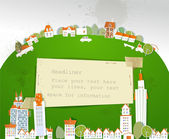 "City on the green hill, ""White city"" collection — Vector de stock"