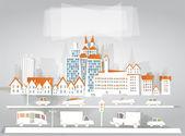 """城市与道路的背景""""白城""""集合 — 图库矢量图片"""
