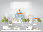 "City and roads background ""White city"" collection — Vector de stock"