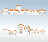 """""""White city"""" collection, City view with residential and office buildings — Stock vektor"""