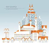 「白い都市」コレクション、シティビュー住宅やオフィスビル — ストックベクタ