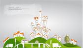 "City on the green hill, ""White city"" collection — Stockvector"