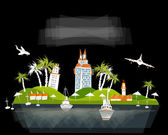 """Port illustration, city on island, """"White city"""" collection — Stock Vector"""