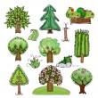 "Vetorial Stock : Set of trees and street design elements ""Happy world"" collection"