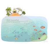 "Under the sea, beautiful nature of the ocean. Travel concept, ""Happy world"" collection — Stock Vector"