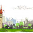 Постер, плакат: Beautiful city on the green hills with park aria City collection