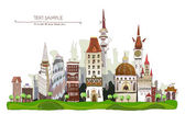 Beautiful city on the green hills with park aria, City collection — Stock Vector