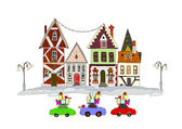 Christmas fun, People and kids paying with snow, City collection — Stock Vector