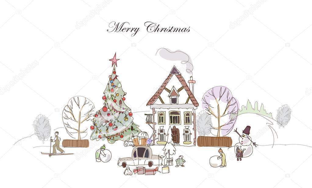 weihnachten spa menschen und kinder bezahlen mit schnee. Black Bedroom Furniture Sets. Home Design Ideas