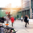 LONDON, UK - MARCH 10, 2014: Canary Wharf business aria with more than 100.000 working places. Tube entrance and early morning commuters — Stock Photo #42570487