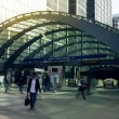 LONDON, UK - MARCH 10, 2014: Canary Wharf business aria with more than 100.000 working places. Tube entrance and early morning commuters — Stock Photo #42577207