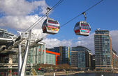 LONDON, UK - MARCH 06, 2014: London's Cable car connecting Excel exhibition centre and O2 arena, two main arenas for show and big performances — Stock Photo