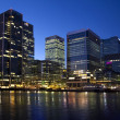LONDON, CANARY WHARF UK - MARCH 16, 2014: Canary Wharf business district in twilight — Stock Photo