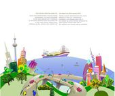 Modern city illustration, City collection — Stockvector
