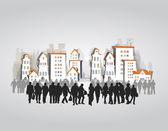 Gente de negocios en la ciudad — Vector de stock