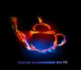 Fire collection of symbols, tea pot — Stock Vector