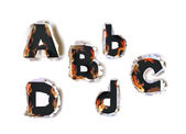 Ripped paper collection Alphabet and flames — Vettoriale Stock