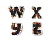 Las llamas y papel rasgado colección alfabeto — Vector de stock