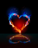 Fire collection. Heart made of flames — Stock Vector