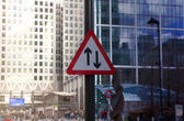 LONDON, UK - CANARY WHARF, MARCH 22, 2014: Two way traffic sign, Two way of busoness concept — Stock Photo