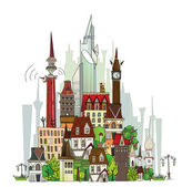 Town illustration, City background — Stock Vector