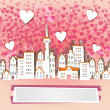 Happy valentine in the city — Stock Vector #43426449