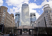 LONDON, UK - CANARY WHARF, MARCH 22, 2014  Carbot square, West India avenue, biggest business district in London, View on Canada tower, City bank and HSBC bank — Stock Photo