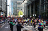 LONDON, UK - APRIL 13, 2014 - London Marathon in Canary Wharf aria, massive sport event for professionals and amateurs sportsmen, Champions League — Stock Photo