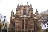 LONDON, WESTMINSTER, UK - APRIL 05, 2014 Houses of Parliament and Parliament tower, view from the Abingon St — Stock Photo
