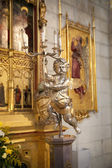 MADRID, SPAIN - MAY 28, 2014: Golden altar in Santa Maria la Real de La Almudena cathedral, Madrid, Spain. — Stock Photo
