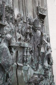 MADRID, SPAIN - MAY 28, 2014: Bas-relief on the door of neo-gothic of Santa Maria la Real de La Almudena in Madrid, Spain. — Stock Photo
