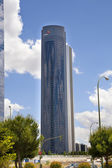 MADRID, SPAIN - MAY 28, 2014: Madrid city business centre, modern skyscrapers ,Cuatro Torres 250 meters high — Stock Photo
